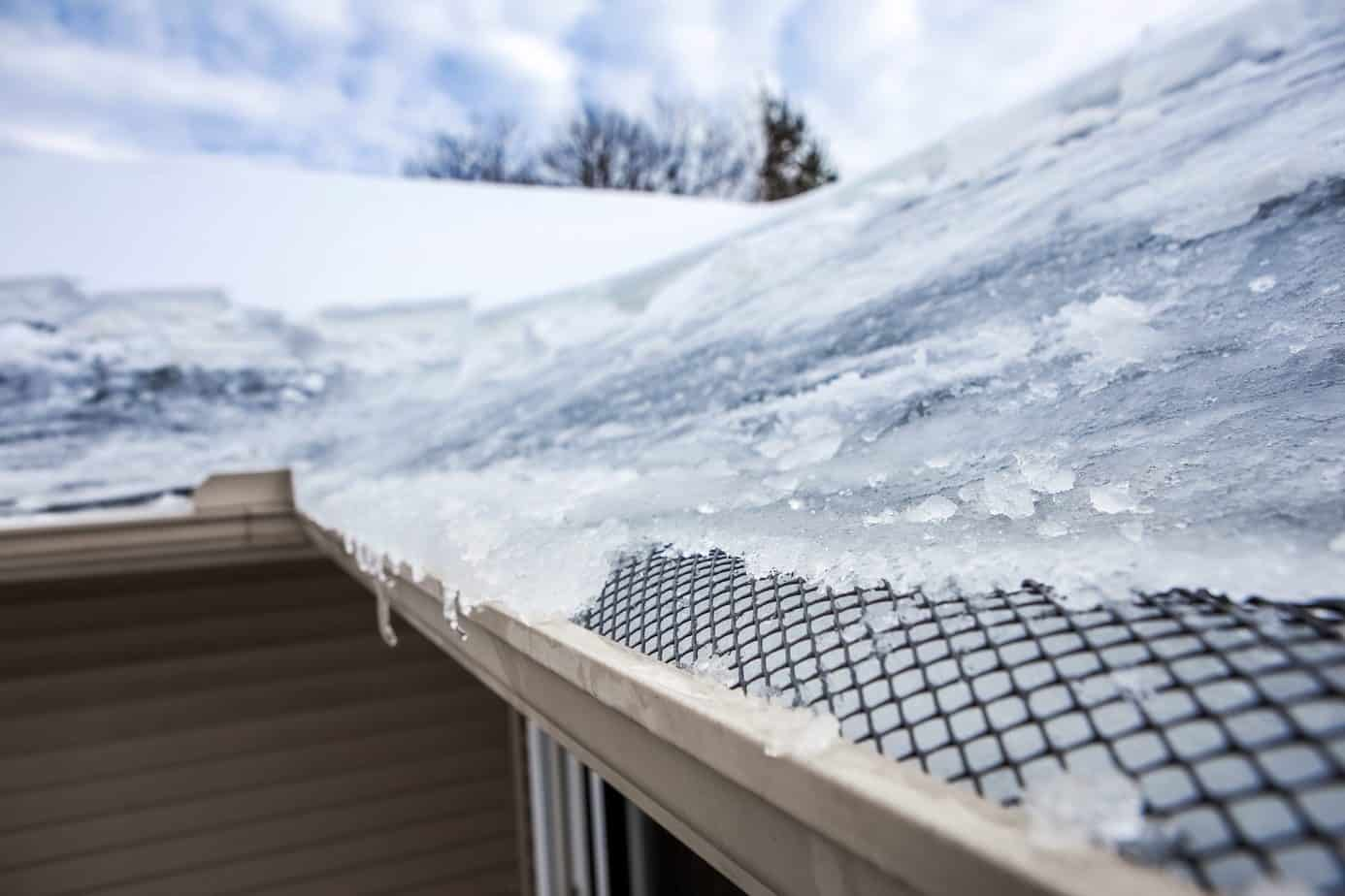 Ice covered gutters
